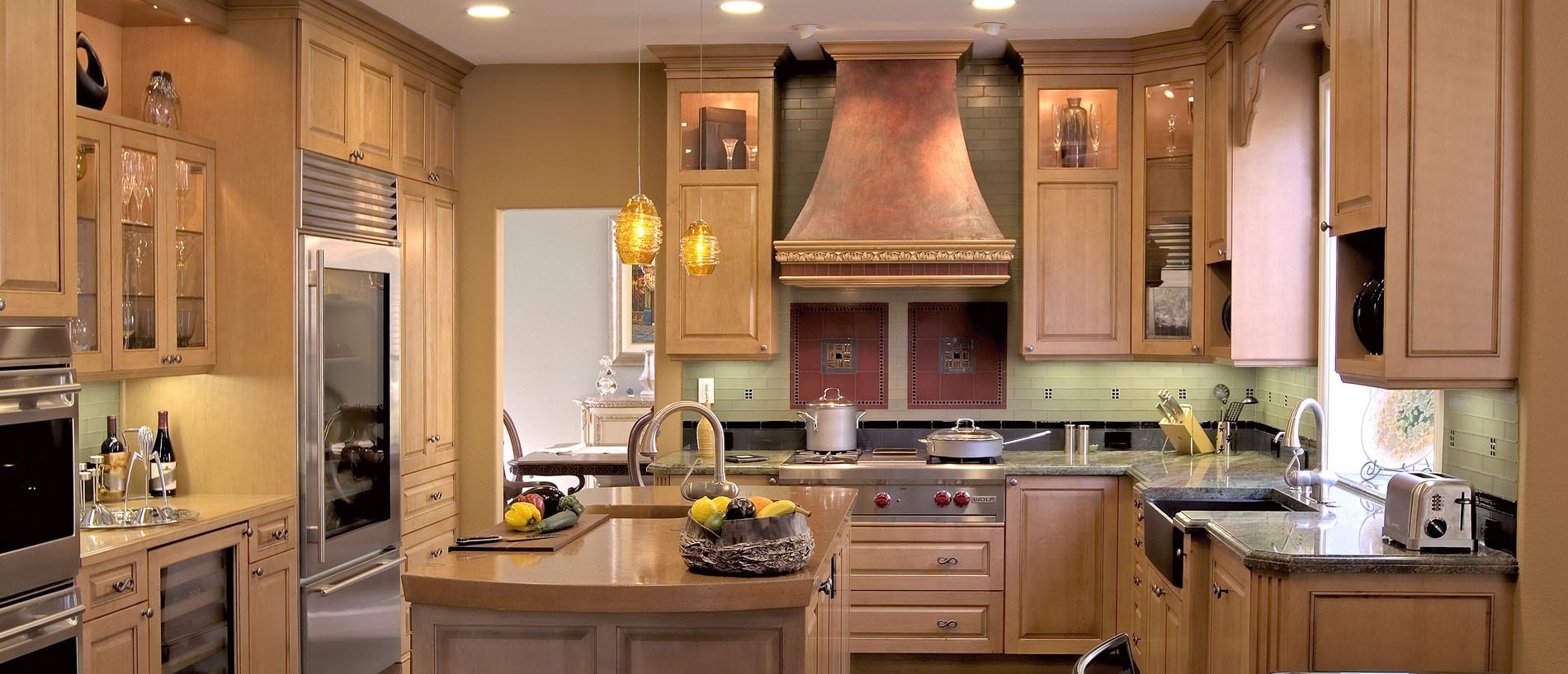 kitchen design with custom hood