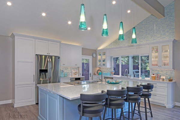 Eclectic Aqua Kitchen in Laguna Hills