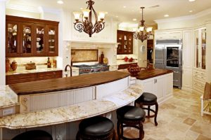 kitchen design with limestone floor