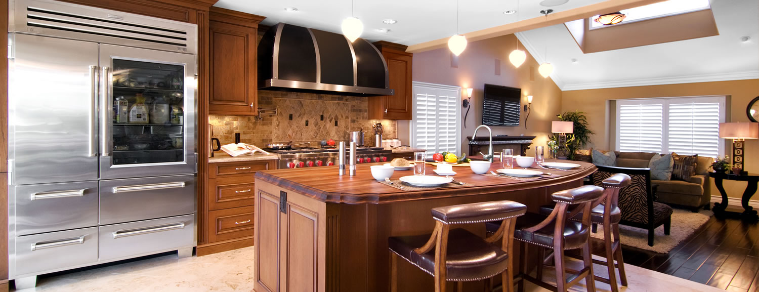 Kitchen design with copper hood
